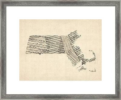 Old Sheet Music Map Of Massachusetts Framed Print by Michael Tompsett