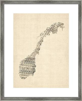 Old Sheet Music Map Of Norway Framed Print by Michael Tompsett