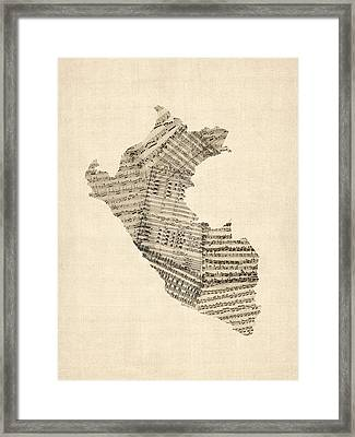 Old Sheet Music Map Of Peru Map Framed Print by Michael Tompsett