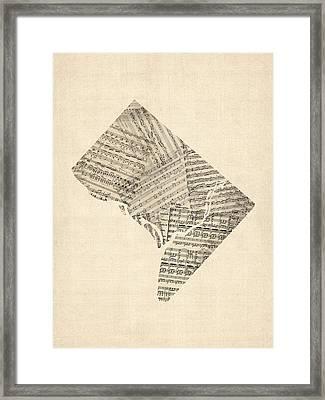Old Sheet Music Map Of Washington Dc Framed Print by Michael Tompsett