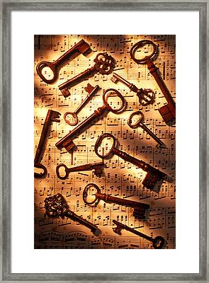 Old Skeleton Keys On Sheet Music Framed Print by Garry Gay