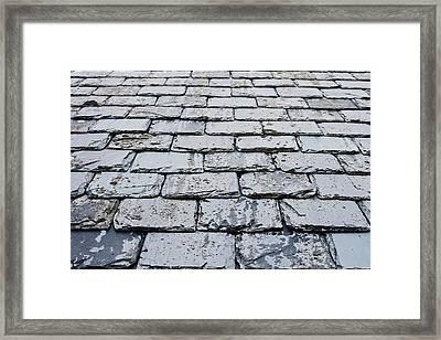 Old Slate Tiles Framed Print by Tom Gowanlock