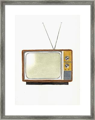 Old Television Set Framed Print by Michael Vigliotti