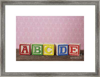 Old Toy Alphabet Blocks Framed Print by Edward Fielding