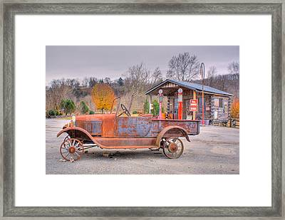 Old Truck And Gas Filling Station Framed Print by Douglas Barnett