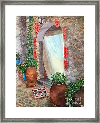Old Village In Chios Greece  Framed Print by Viktoriya Sirris