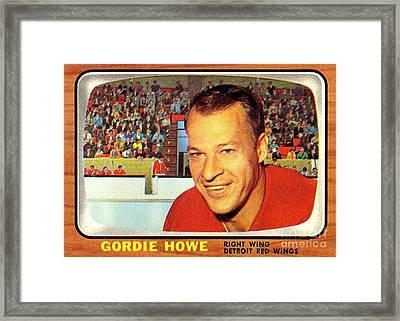 Old Vintage Gordie Howe Hockey Card Collectable Framed Print by Pd