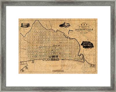 Old Vintage Map Of Jacksonville Florida Circa 1859 On Worn Distressed Parchment Framed Print by Design Turnpike