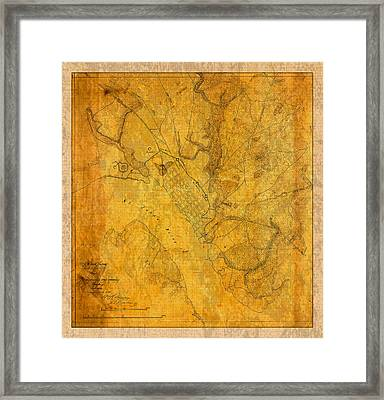 Old Vintage Map Of Jacksonville Florida Circa 1864 Civil War On Worn Distressed Parchment Framed Print by Design Turnpike