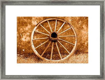 Old Wagon Wheel - Sepia Framed Print by Olivier Le Queinec