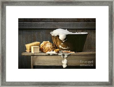 Old Wash Tub With Soap On Bench Framed Print by Sandra Cunningham