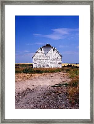 Old White Barn Framed Print by Kathy Yates