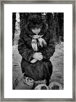 Old Woman In Fur Selling Berries In Winter Framed Print by John Williams