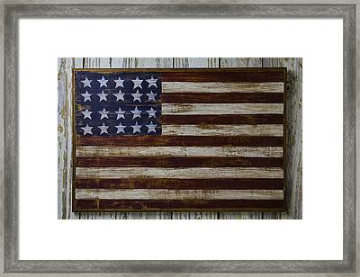 Old Wooden American Flag Framed Print by Garry Gay