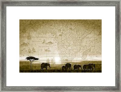 Old World Africa Antique Sunset Framed Print by Dana Bennett