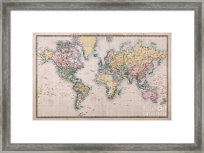 Old World Map On Mercators Projection Framed Print by Richard Thomas