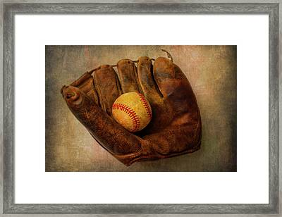 Old Worn Ball And Mitt Framed Print by Garry Gay