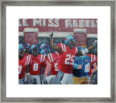 Ole Miss Ready Framed Print by Leslie Saucier