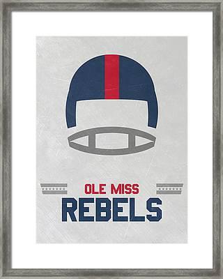 Ole Miss Rebels Vintage Football Art Framed Print by Joe Hamilton