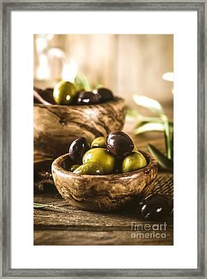 Olives On Branch Framed Print by Mythja  Photography