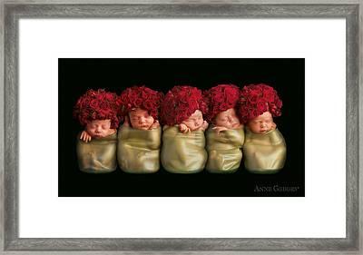 Olivia, Alice, Hugo, Imogin-rose & Mya As Roses Framed Print by Anne Geddes