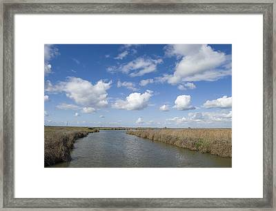 Olson Pond With Clouds And Blue Sky Framed Print by Rich Reid