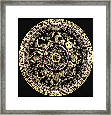 Om Mandala With Astamandala Framed Print by Lanjee Chee
