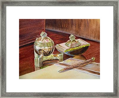 On A Desk At Eugene O Neill Tao House Framed Print by Irina Sztukowski