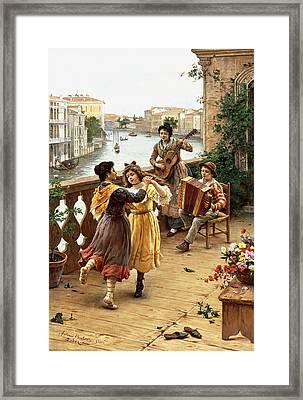 On A Venetian Balcony Framed Print by Antonio Paoletti