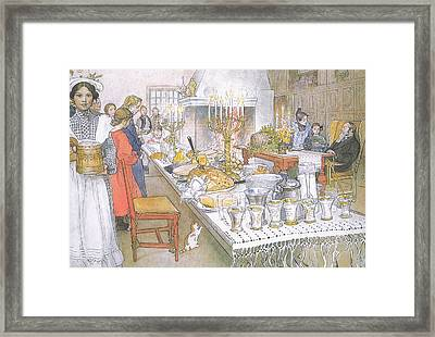 On Christmas Eve Framed Print by Carl Larsson