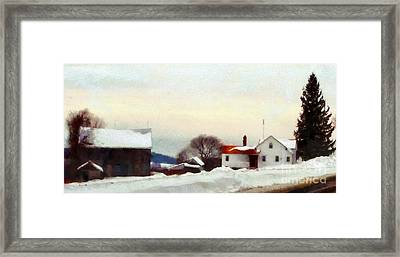 On My Way Home - Winter Farmhouse Framed Print by Janine Riley