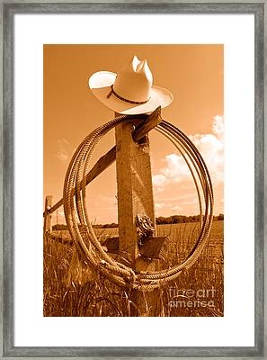 On The American Ranch - Sepia Framed Print by Olivier Le Queinec