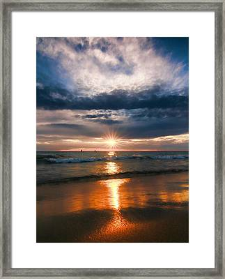 On The Beach At Sunset Framed Print by Dan Sproul