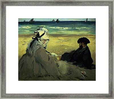 On The Beach Framed Print by Edouard Manet
