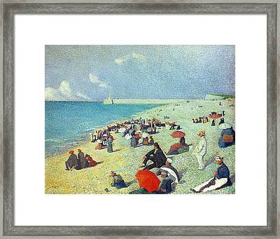 On The Beach Framed Print by Leon Pourtau