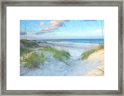 On The Beach Watercolor Framed Print by Randy Steele