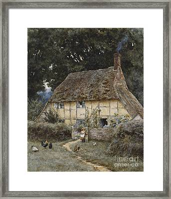 On The Brook Road Near Witley Framed Print by Helen Allingham
