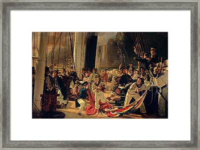 On The Deck During A Sea Battle Framed Print by Francois Auguste Biard
