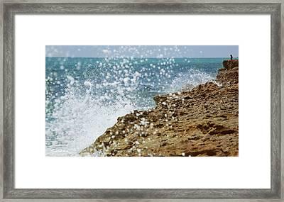 On The Edge Blowing Rocks Preserve Jupiter Island Florida Framed Print by Michelle Wiarda