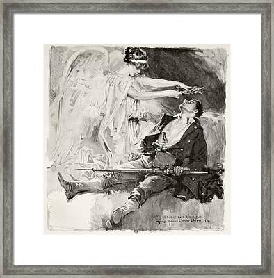 On The Field Of Honour. A Dead Soldier Framed Print by Vintage Design Pics