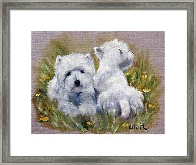 On The Lawn Framed Print by Mary Sparrow