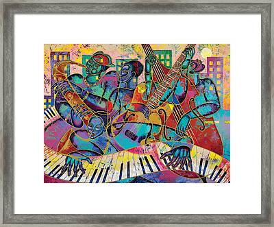 On The Main Stage Framed Print by Larry Poncho Brown