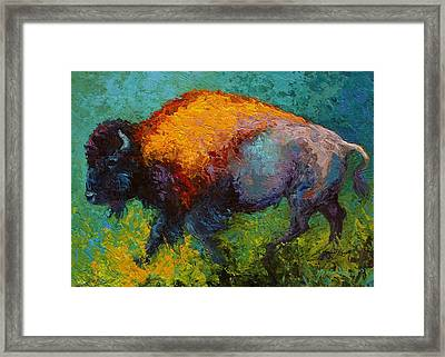 On The Run - Bison Framed Print by Marion Rose