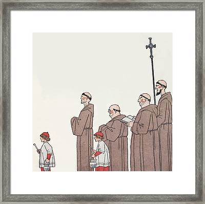 On The Way To Mass Framed Print by Georges Barbier