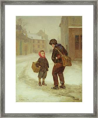 On The Way To School In The Snow Framed Print by Pierre Edouard Frere
