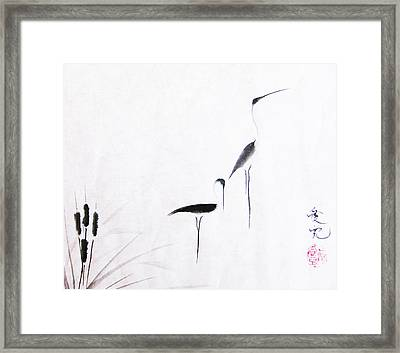 On Typha Pond Framed Print by Oiyee At Oystudio
