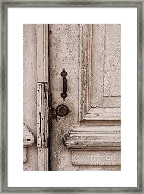 Once A White Door Framed Print by Ana V Ramirez