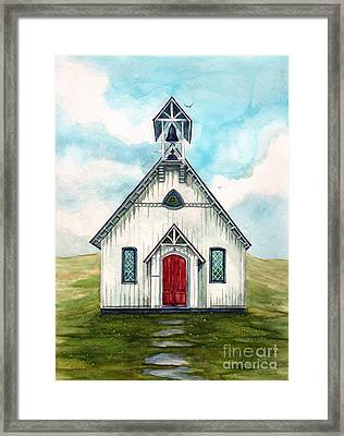Once Upon A Sunday - Country Church Framed Print by Janine Riley
