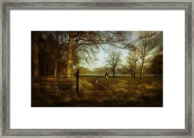 One Man And His Dog Framed Print by Janet Meehan