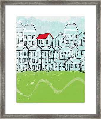 One Red Roof Framed Print by Linda Woods